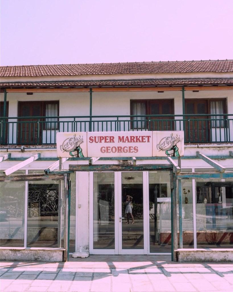 run-down Greek supermarket