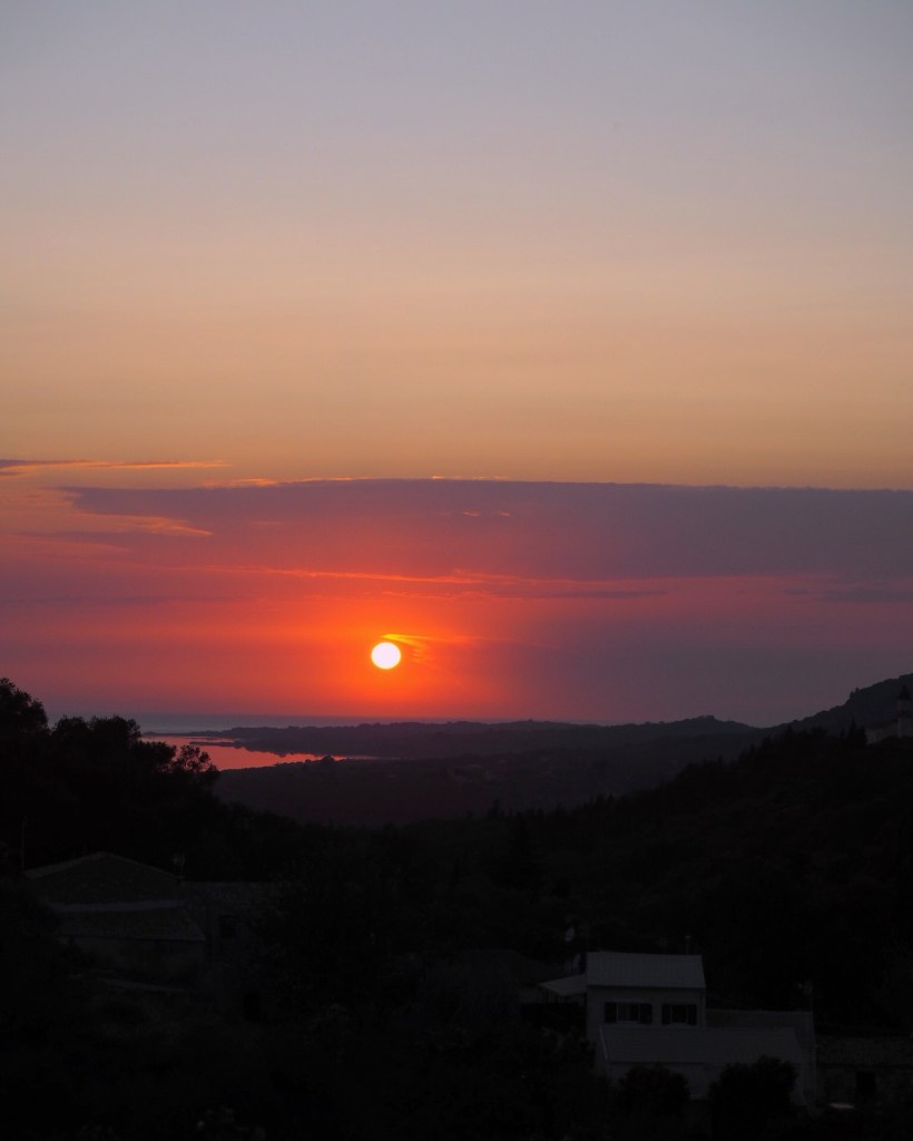 red sunset in corfu