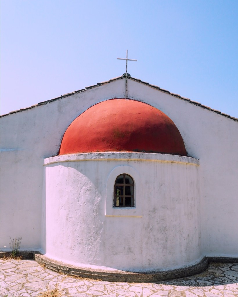 white church with red dome