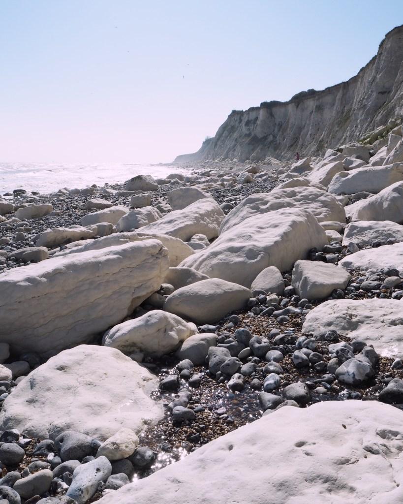 white rocks at Holywell Beach