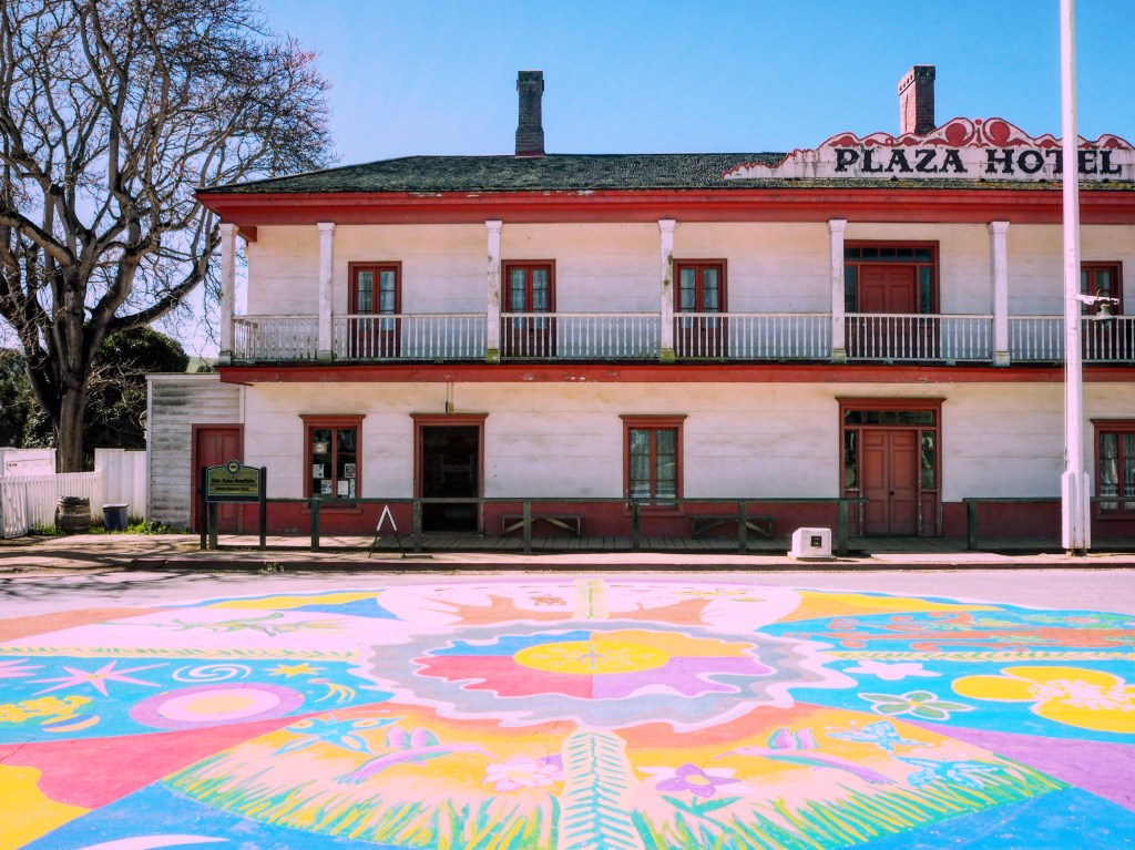 outside the Plaza Hotel in San Juan Bautista