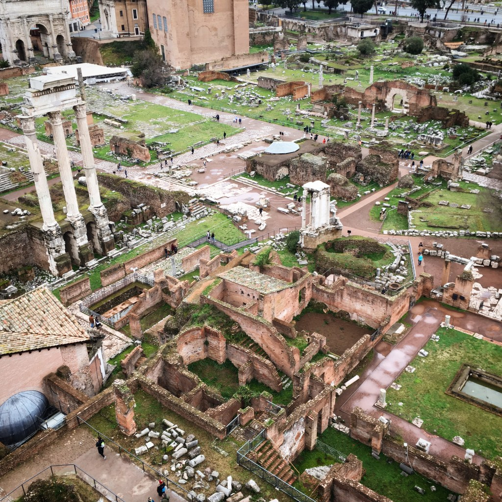 view of the Roman Forum during winter