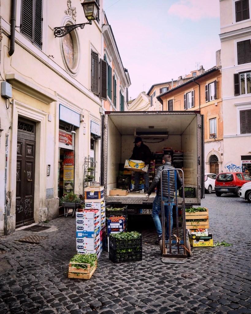 unloading a vegetable van in Trastevere