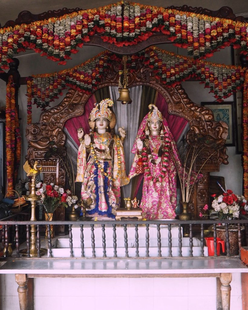 an altar in a Hindu temple in Mauritius