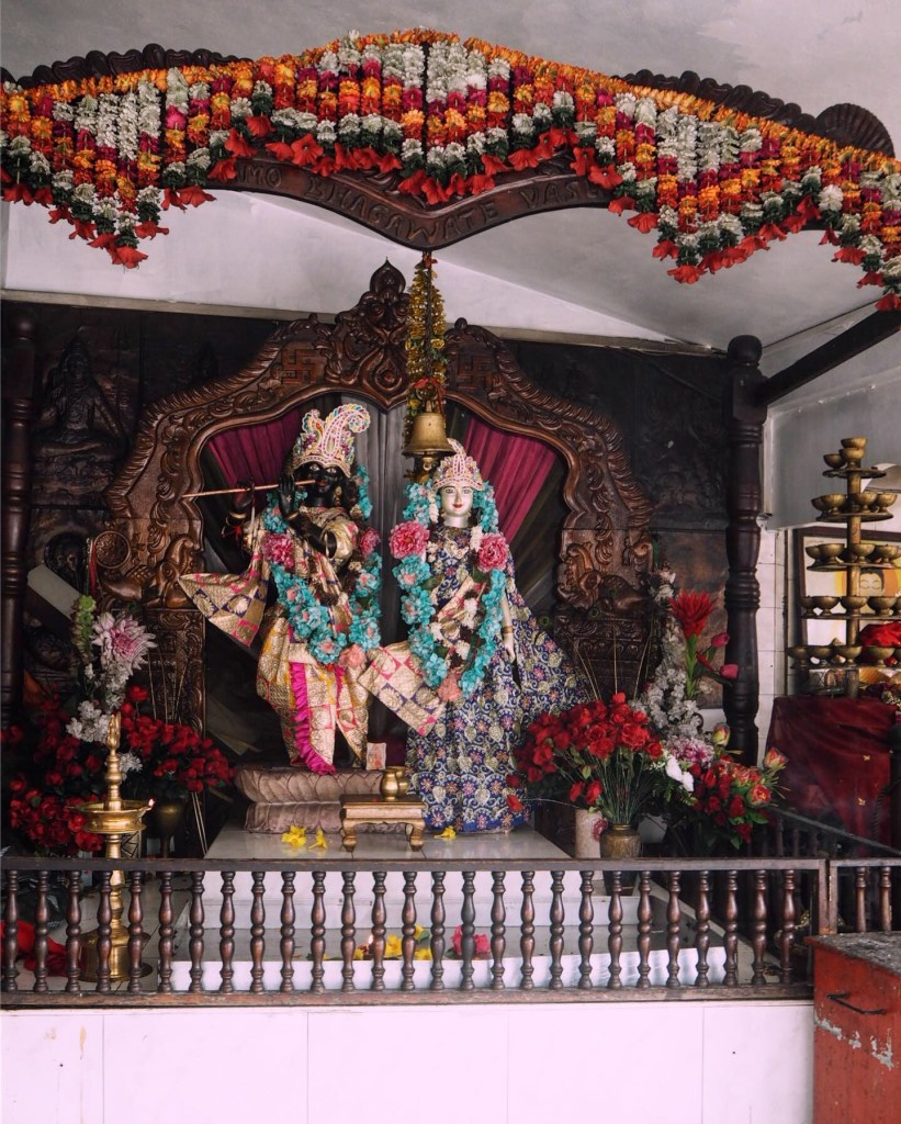 tropical flowers and Hindu gods and goddesses