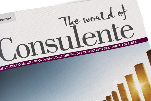 Impaginazione grafica rivista The world of il Consulente