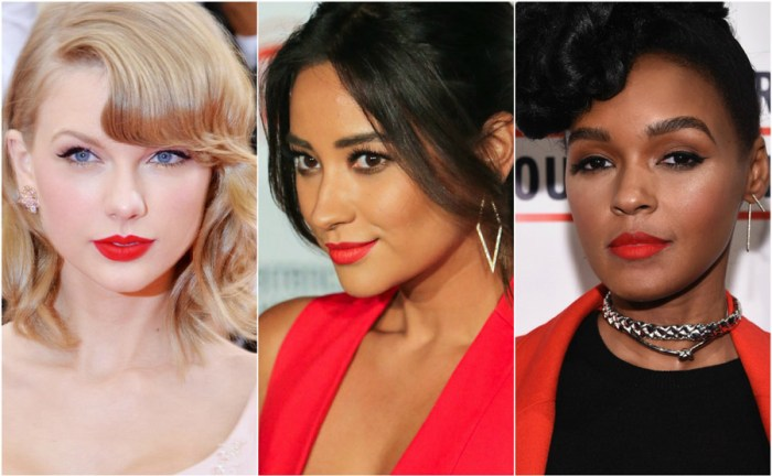 Bright Red Lipstick Celebrity Skin Tone Fair Olive Dark Taylor Swift Shay Mitchell Janelle Monae