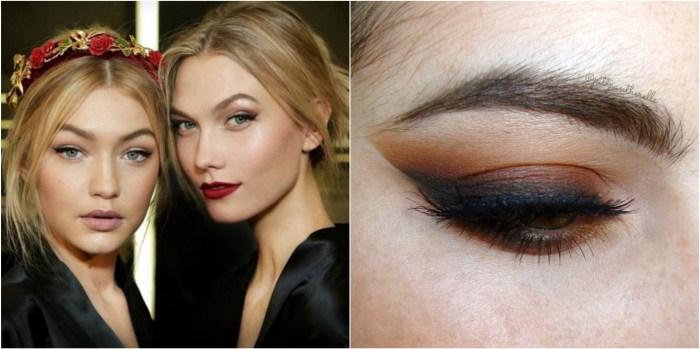 Supermodels Gigi Hadid and Karlie Kloss with dark copper eye shadows
