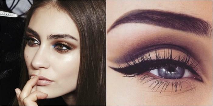 Eye shadow and black eyeliner flick close up