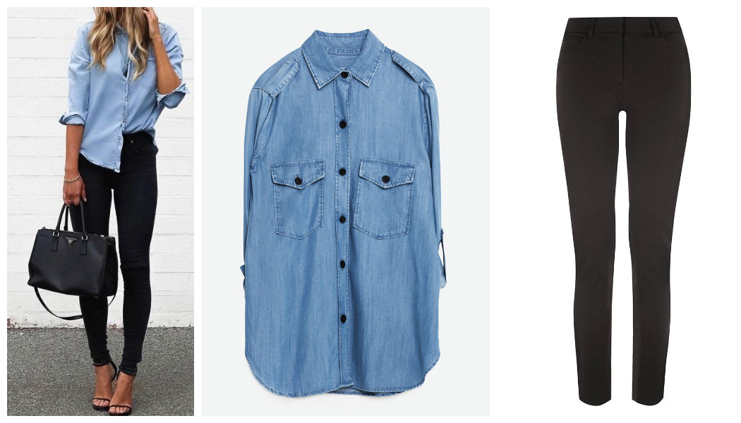 blue denim shirt black jeans combo