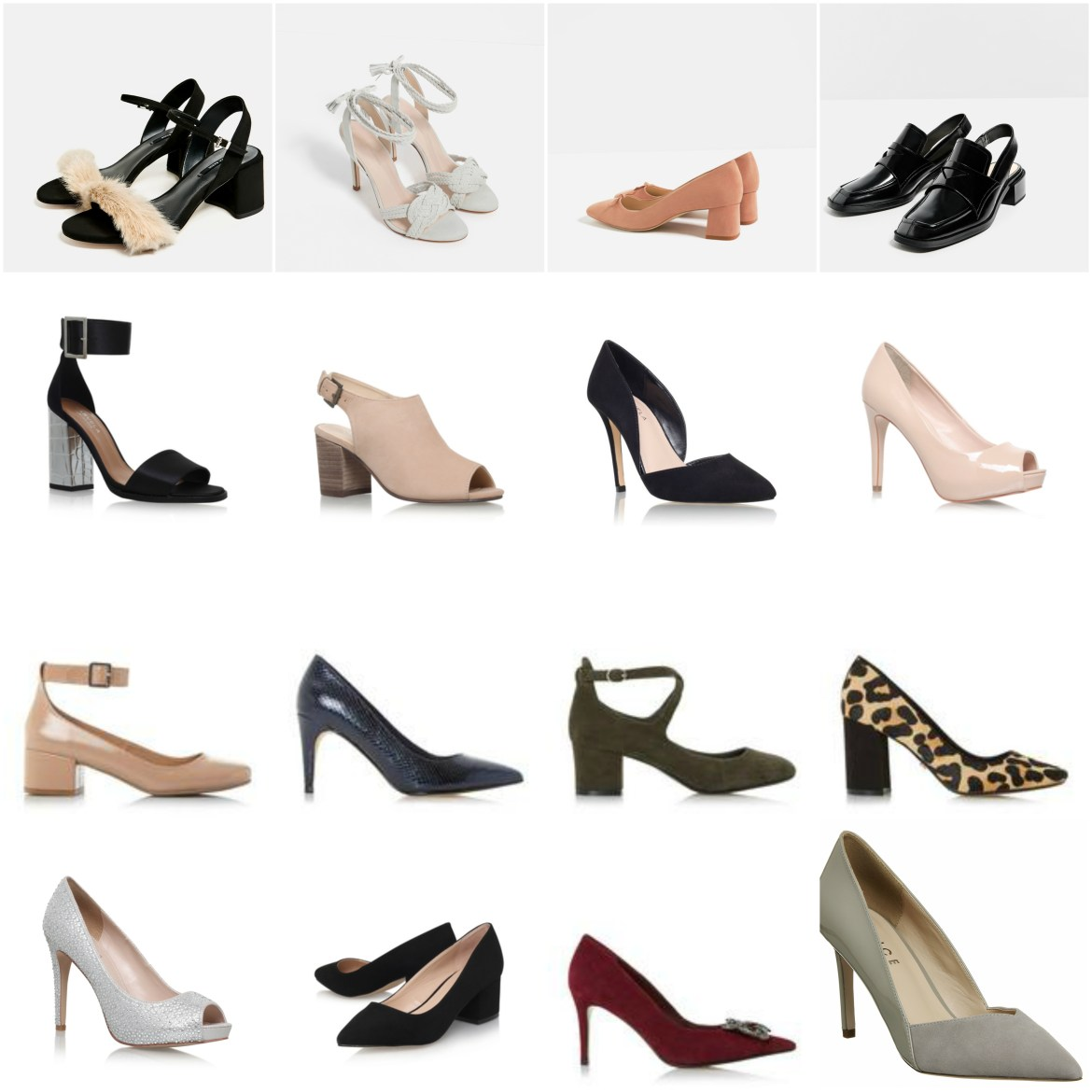 product grid of comfortable heels