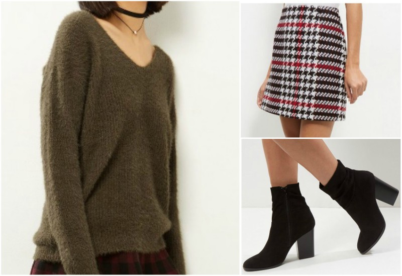 Backless sweater outfit grid inspiration with houndstooth mini skirt and black ankle boots