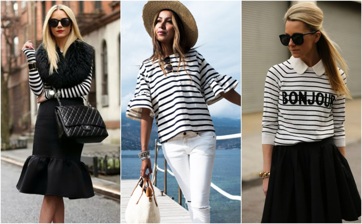 girl wearing a black and white breton top
