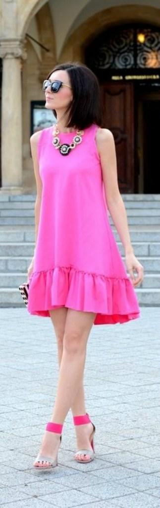 Hot Pink Drop Waist Sleveless Dress