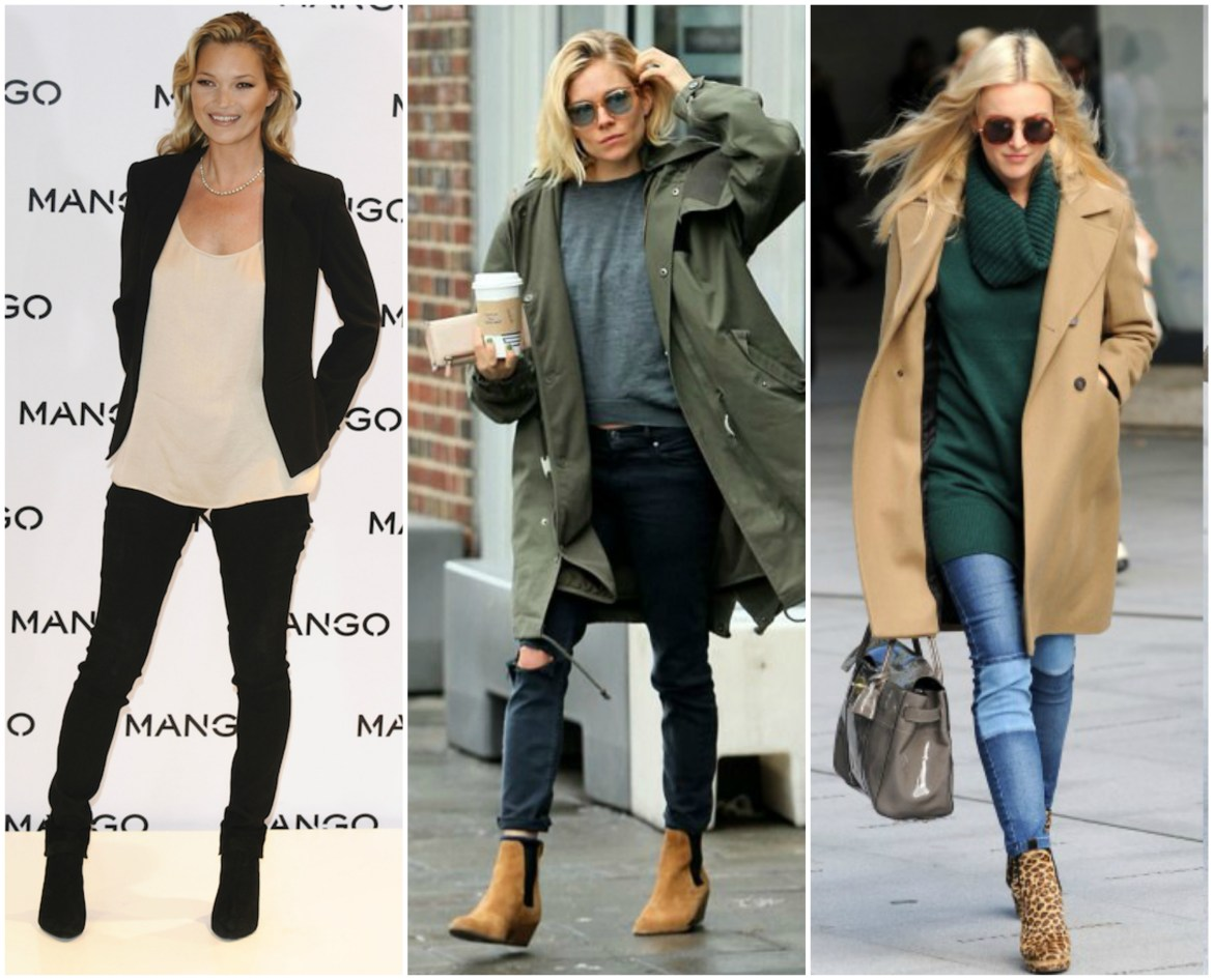 Kate Moss, Sienna Miller and Fearne Cotton demonstrate how to wear Chelsea boots during the day