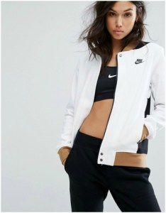 Nike white bomber jacket with brown and black detailing