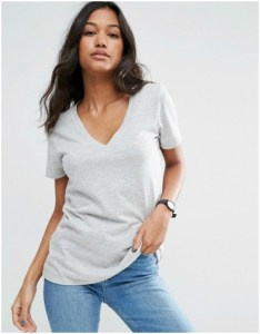 ASOS v-neck slouchy grey short sleeved t-shirt
