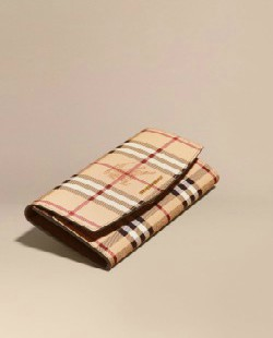 Burberry HAYMARKET CHECK AND LEATHER CONTINENTAL WALLET
