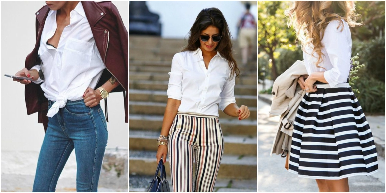 Three ways to wear a white shirt: with jeans, cigarette trousers and a-line skirt