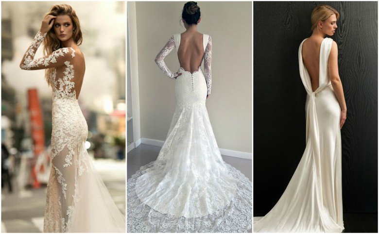 Three brides in backless wedding dresses