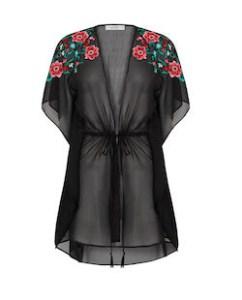 Sheer Black Floral Kimono Jacket