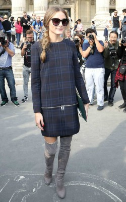 Olivia Palermo Long sleeved blue check dress with grey over the knee dress