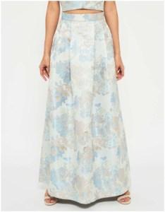 Miss Selfridge Blue Jacquard Maxi Skirt