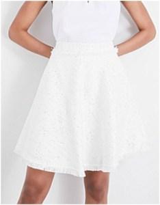 Ted Baker White Fortoi blouclé cotton-blend skirt