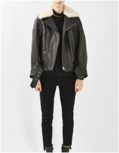 Topshop Aviator Leather Jacket with fur trim