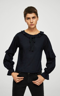12 Pieces for a Hepburn-inspired Wardrobe - Mango Bow ruffle t-shirt - $39.99