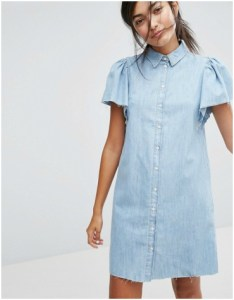 ASOS Bershka Button Front Denim Dress