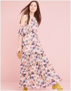 Anthropologie Kalia Floral Cold Shoulder Maxi Dress