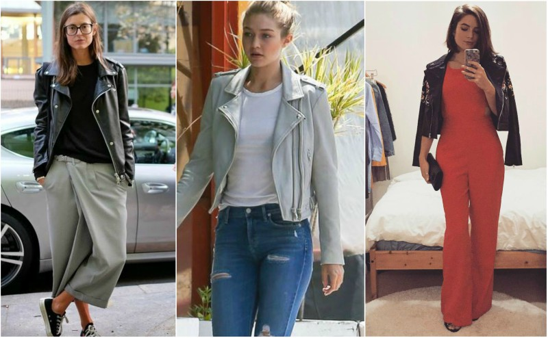 street style how to wear leather jacket with pants or jeans