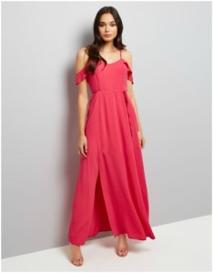 New Look pink frill scrappy cold shoulder maxi dress