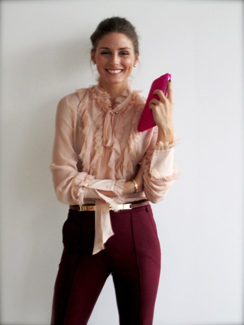 Olivia-Palermo-Burgundy-Trousers-Blouse-Wedding-Guest-Dresses-Alexie