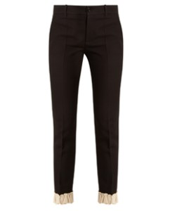 Gucci Ruffled-Hem Silk and Wool-Blend Trousers
