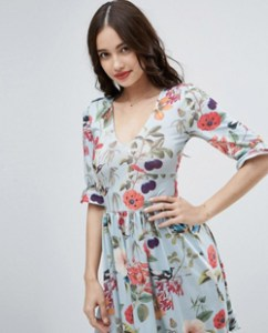 ASOS Mini Tea Dress with Frill Sleeve in Floral Print