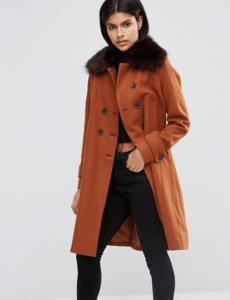 ASOS Wool Blend Coat with Military Details and Fur Trim