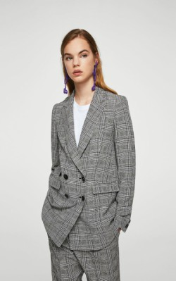 Top three blazers - Mango Prince of Wales blazer in grey