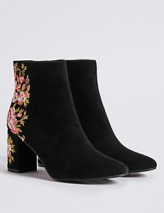 M&S Collection - Block Heel Embroidered Ankle Boots