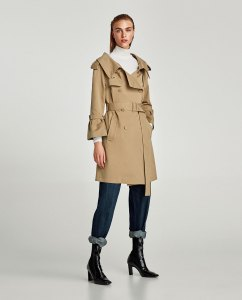 Zara Trench Coat with Oversized Collar