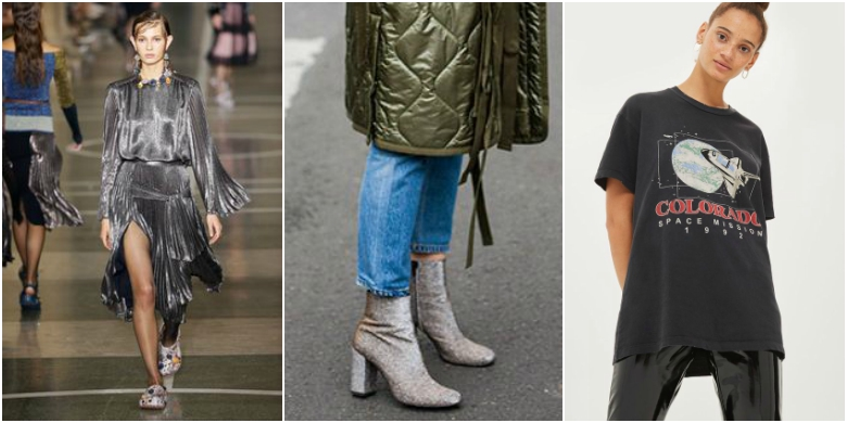 AW17 fashion trends space age glitter ankle boots planet t-shirt