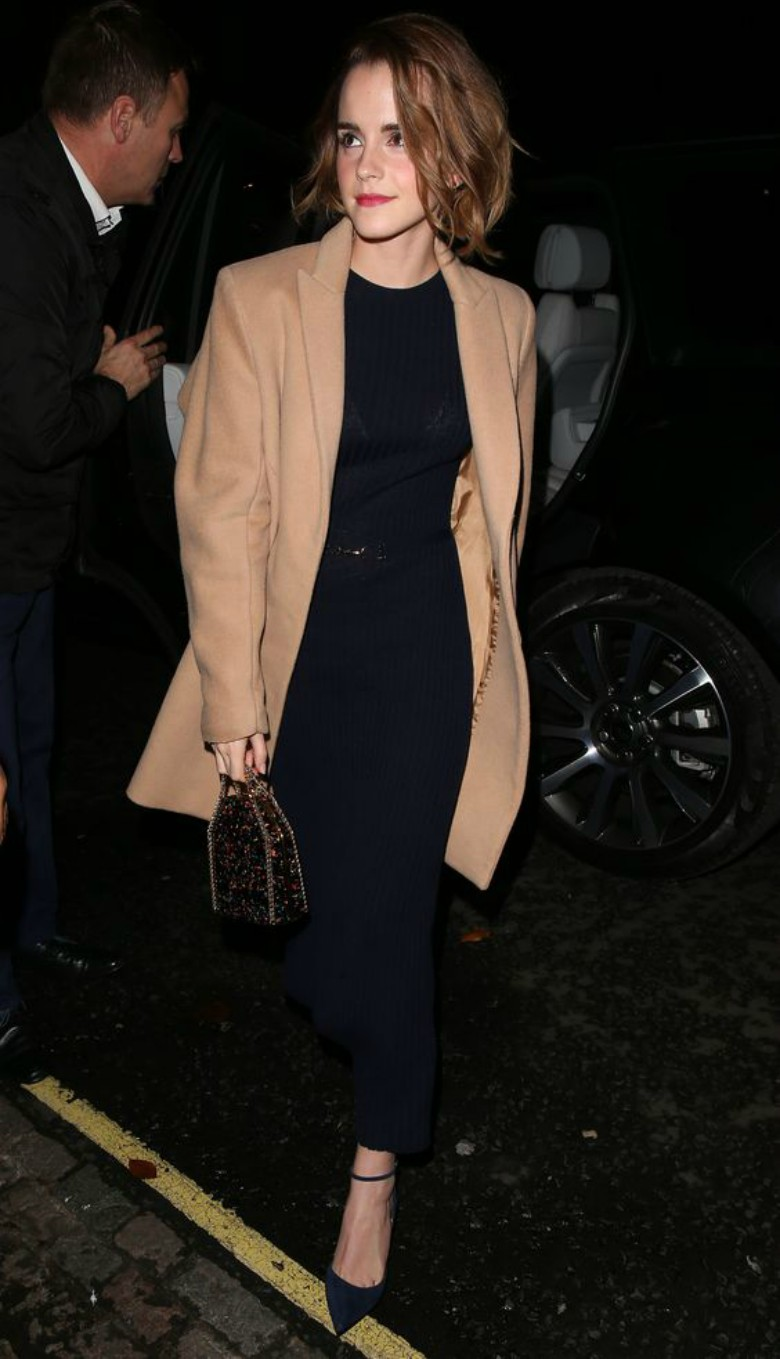 Celebs wearing camel coats Emma Watson - long black dress, heels and camel coat