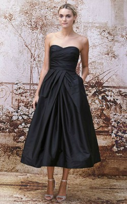 What to wear to a black tie dinner - short black strapless formal dress