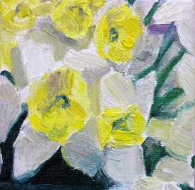 Close-up painting of daffodils