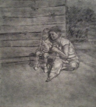 Charcoal drawing of a seated and smiling mother and child