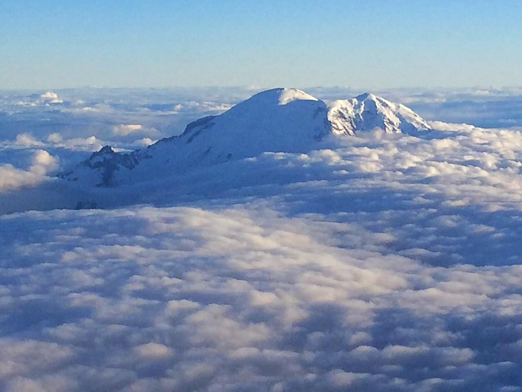Mt Rainier peeking through the clouds