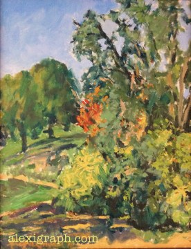 An oil painting of an early fall landscape with one patch of red leaves