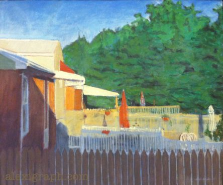 Painting of a row of back patios, divided by fences