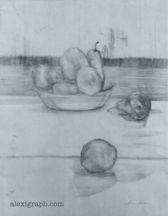 Drawing of a bowl a fruit and a pear and orange on a table